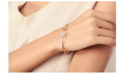 2019 Hot New Double Heart Bow Bilezik Cuff Opening Bracelet - 9about