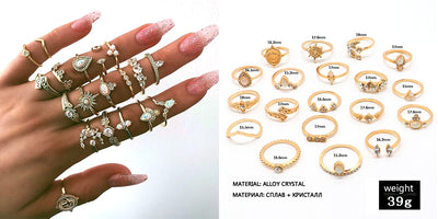 20 Style 12 Pcs/set Bohemian Vintage Ring Set Crown Water Drops Stars - 9about