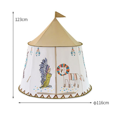 Teepee Kids Tent Indian House Portable 123*116cm - 9about