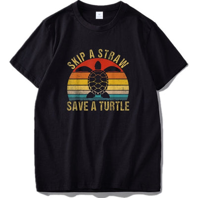 Skip Straw Save Turtle Shirt Tshirt Crew Neck Shirt - 9about