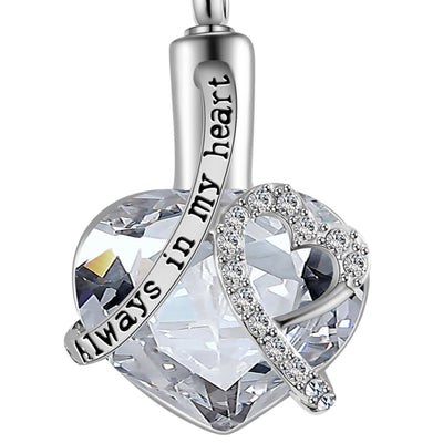 Heart cremation Urn Birthstone Necklace For Ashes - 9about