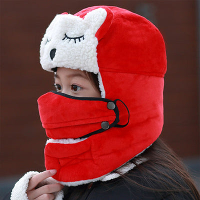 Bomber Hats Mask for Kids Women Winter with Scarf Neck Wool - 9about