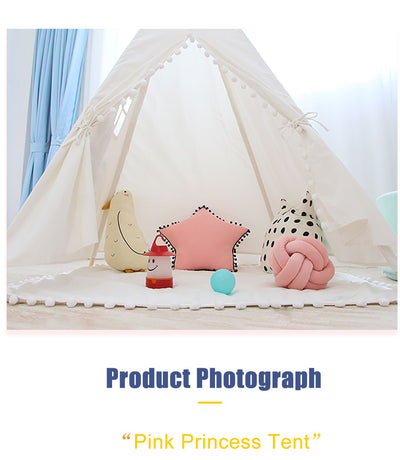 Teepee Tent Cotton Canvas Kids Play House Gift - 9about