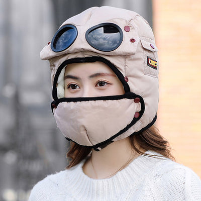 Bomber Hats And Mask Pilot Goggles Warm Aviator Hats Trooper Trapper Cap Women Men - 9about