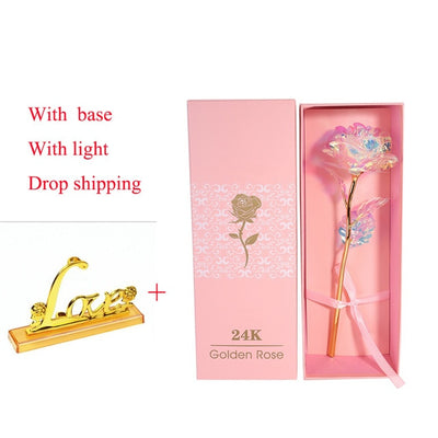 24k Gold Plated Rose With Love Holder Box Gift Valentine's Day - 9about