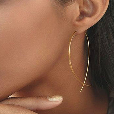 Women Golden Color Round Ball Geometric Earrings - 9about
