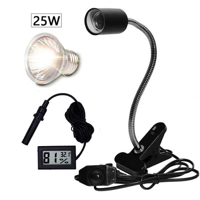 Reptile Lamp Set UVA+UVB 3.0 Lamp Clip-on Bulb Lamp Holder Thermometer Hygrometer - 9about