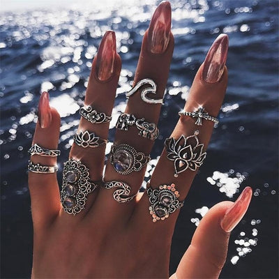 11 Pcs/set Bohemian Beach Retro Ring Set Elephant Hollow Lotus Wave Gems - 9about