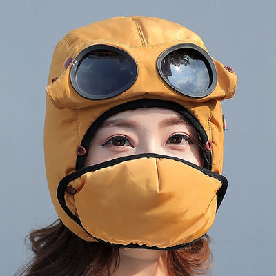 Bomber Hats And Mask Pilot Goggles Warm Aviator Hats Trooper Trapper Cap Women Men Child - 9about
