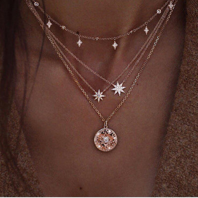 Bohemian Necklace Star Disc Pendant Multilayer Gold - 9about