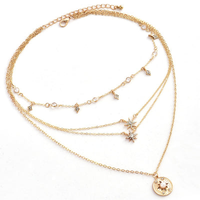 Bohemian Necklace Star Disc Pendant Multilayer Gold