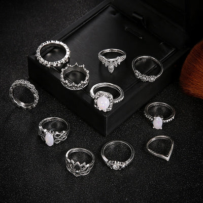 11 Pcs/set Bohemian Ring Set Retro Opal Lotus Crystal Wave Silver - 9about