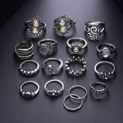16 Pcs/set Bohemian Vintage Ring Set Crown Wave Flower Heart Leaf Crystal Opal - 9about