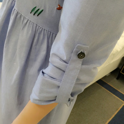 Waist Pleated Embroidery Cotton Maternity Shirt