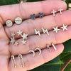 18 Pcs/set Stars Moon Cross Crystal Heart Gold Stud Earrings Set Punk