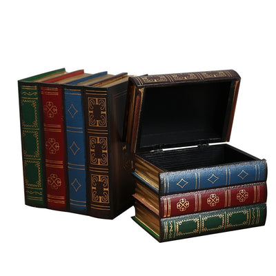 Creative Vintage Wooden Books Shape Storage Boxes Decoration - 9about