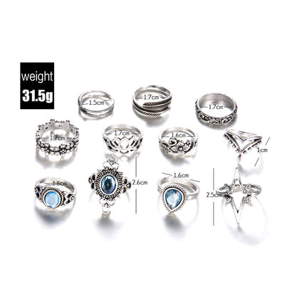 11 Pcs/set Boho Ring Set Carving Flowers Leaves Water Drop Stars Crystals Gem - 9about