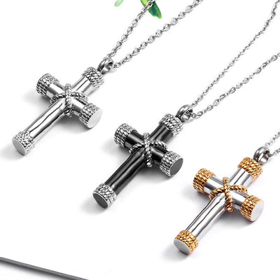 Classic Cross Cremation Urn Necklace For Ashes - 9about