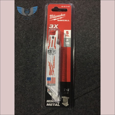 Milwaukee 4in 18TPI 5 pack Sawzall Blades - toolaza