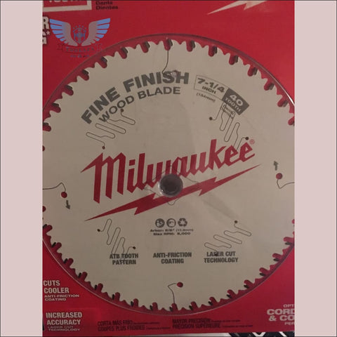 Milwaukee 7-1/4  40T Fine Finish Wood Blade - toolaza