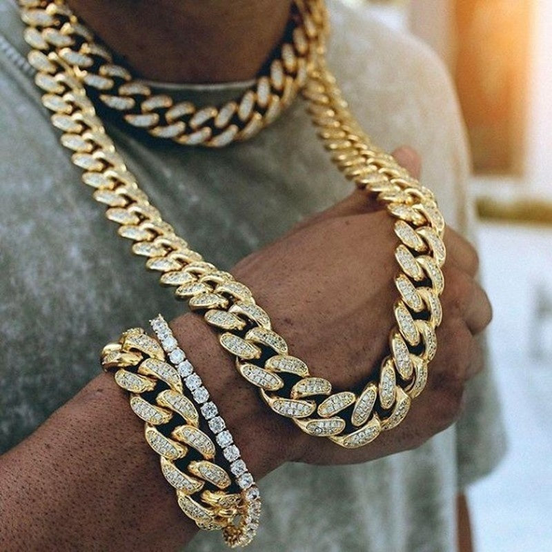 24K Gold Plated / 925 Silver Plated - Iced Out Thick Cuban Chain
