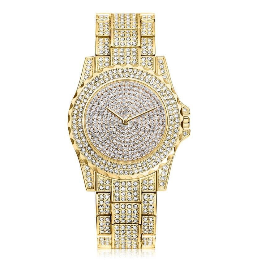 CZ Crystals Fully Iced Out Men's Bling Bling Gold Metal Watch