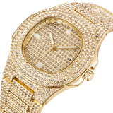 14K CZ Iced Out With Diamonds Gold Plated Men's Bling Watch