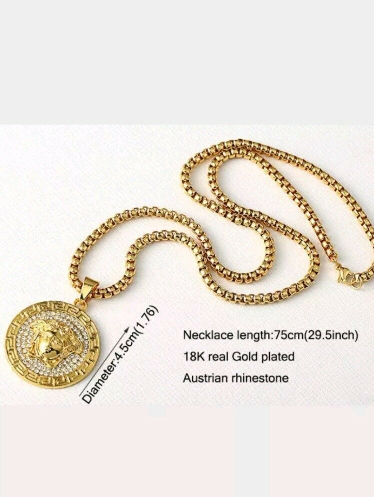 18k Gold Plated Iced Out Rhine Crystal Stone Medusa Necklace Men 30'' Rope Chain