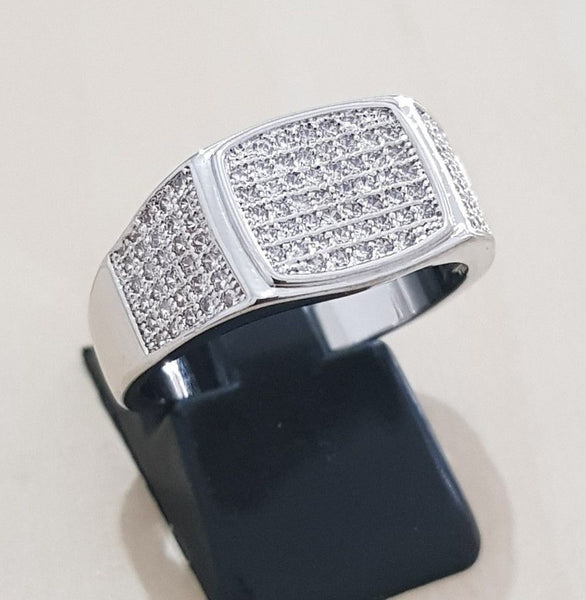 28a881facd5e04 14k White Gold Plated Band Micropave CZ AAA Crystal Men's Iced Out Pin – Bling  Bling Jewelery