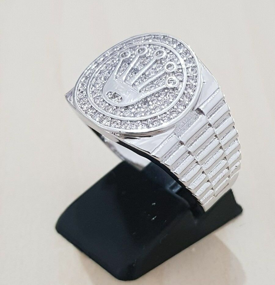 18K White Gold Plated ICED OUT CZ Presidential MICROPAVE Signed Band Mens Ring