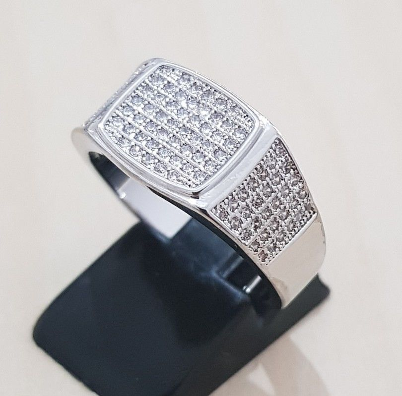 14k White Gold Plated Band Micropave CZ AAA Crystal Men's Iced Out Pinky Ring
