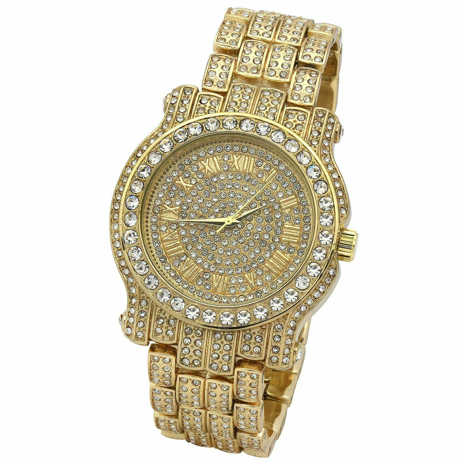 Pave Gold Tone Iced Out Men's Bling Bling Gold Metal Watch