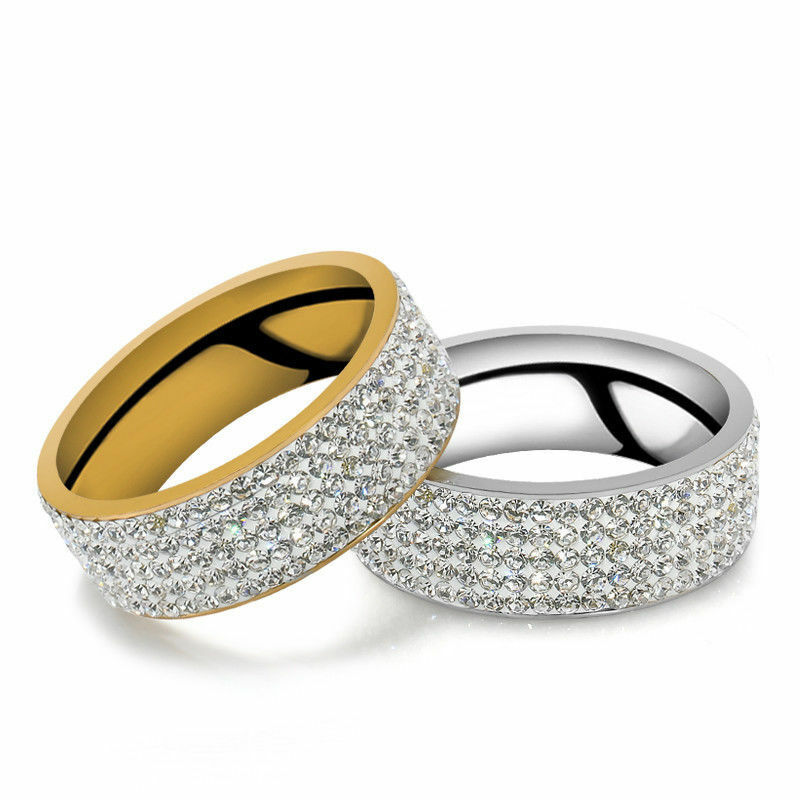 Women's Ring 6 Row CZ Crystal Stainless Steel Rings Round Wedding Band