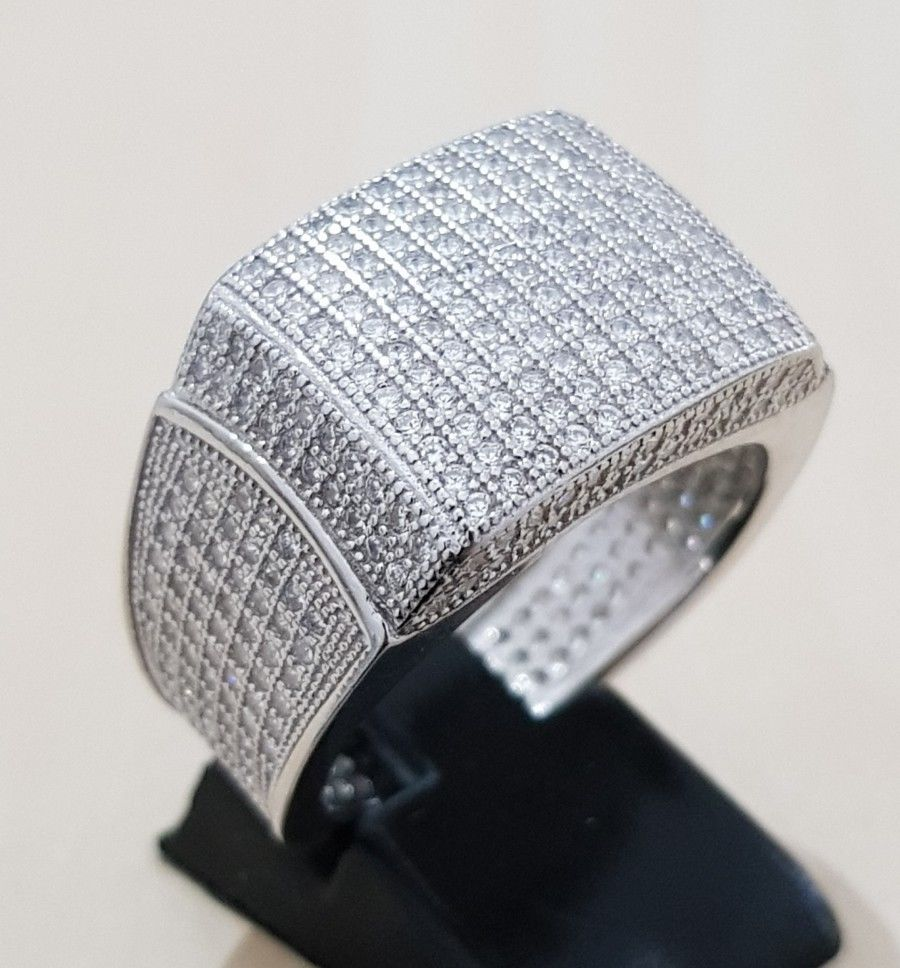 SOLID Silver 18K Gold 19mm FULLY ICED OUT 360 Simulated Diamond