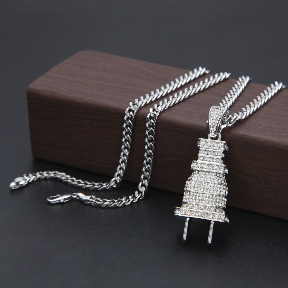 Fully Iced Out Diamond Bling Power Plug Pendant Hip Hop Cuban Necklace Chain