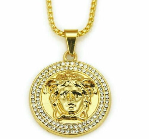 "14k Iced Gold Diamonds Medusa Chain Necklace With 30"" Chain"