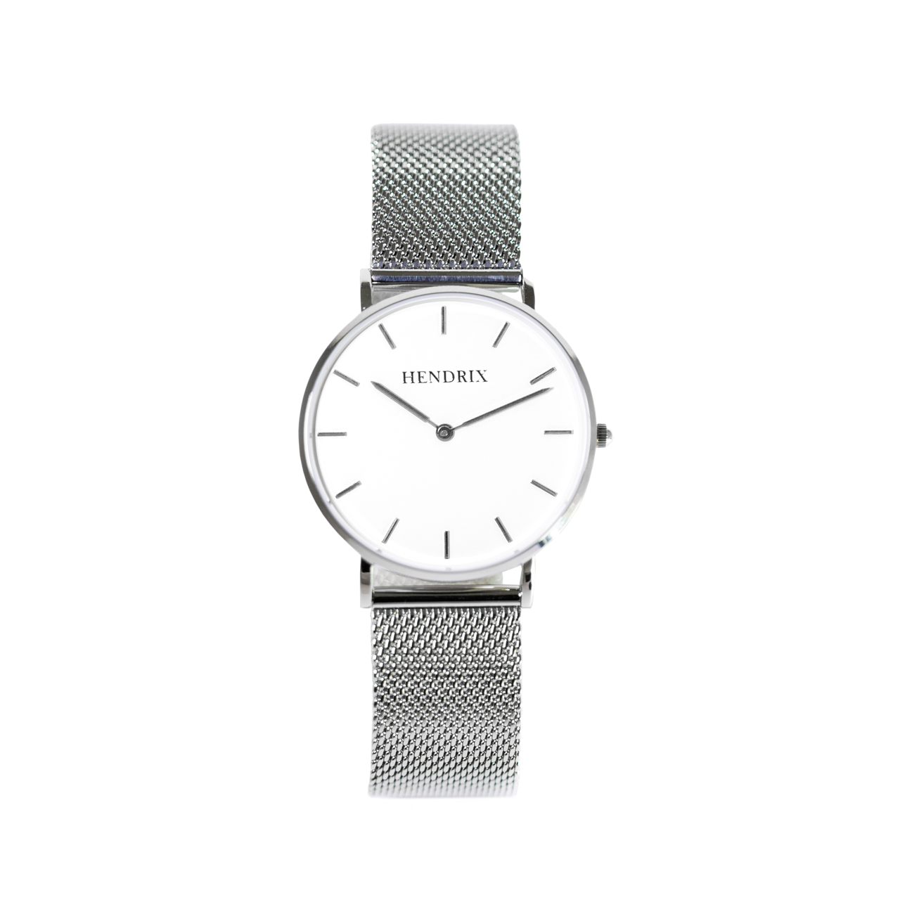 Hendrix white on silver minimal unisex mesh newport watch