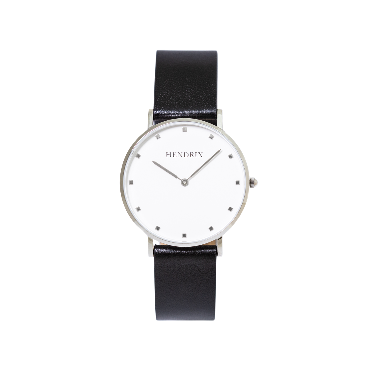 Hendrix white on black minimal unisex leather signature watch