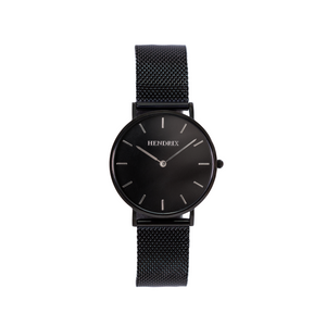 Hendrix black on black minimal unisex mesh newport watch