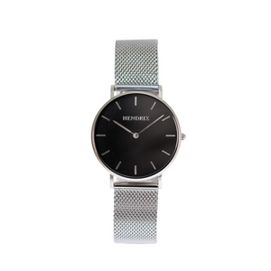 Hendrix black on silver minimal unisex mesh newport watch