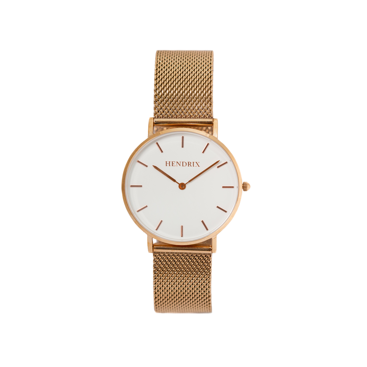 Hendrix white on rose gold minimal unisex mesh newport watch