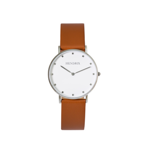Hendrix white on brown minimal unisex leather signature watch