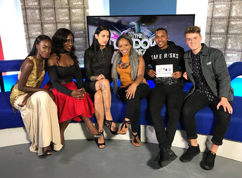 Dolls of Decadence designer Paulinah with the Made in Birmingham TV squad and model Sacha and Tania