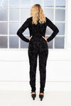VIVA long sleeve  black velvet floral jumpsuit