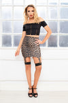 HYPE leopard print bodycon suspender mini skirt