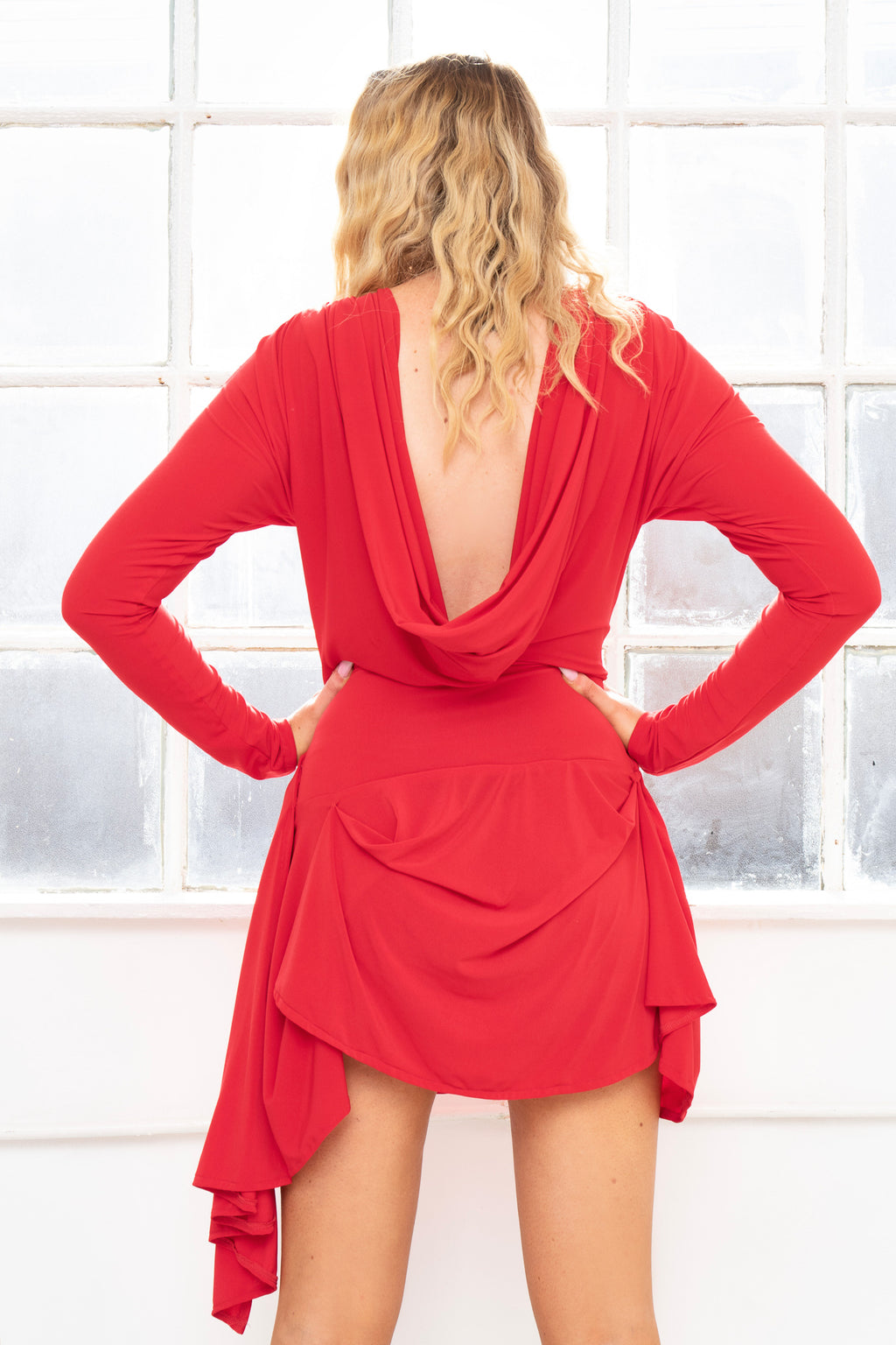 SCARLET Cowl back soft touch draped front jersey mini dress