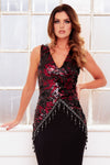 SIA BLACK sequin beaded chandelier evening gown