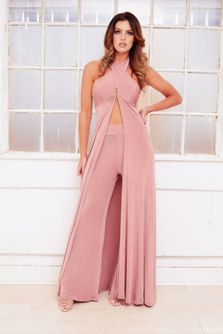 CINDER embellished chiffon winged deep plunge evening gown