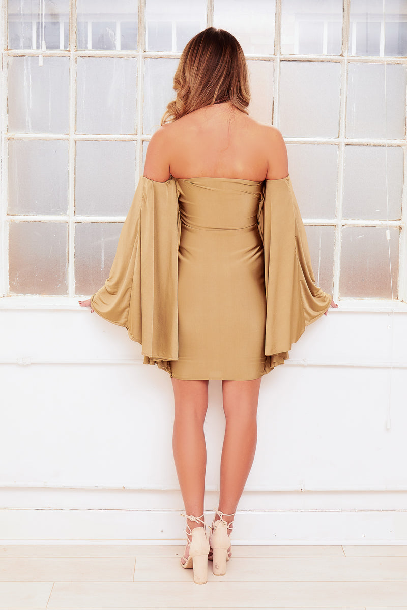 FLOW off shoulder winged bardot mini dress
