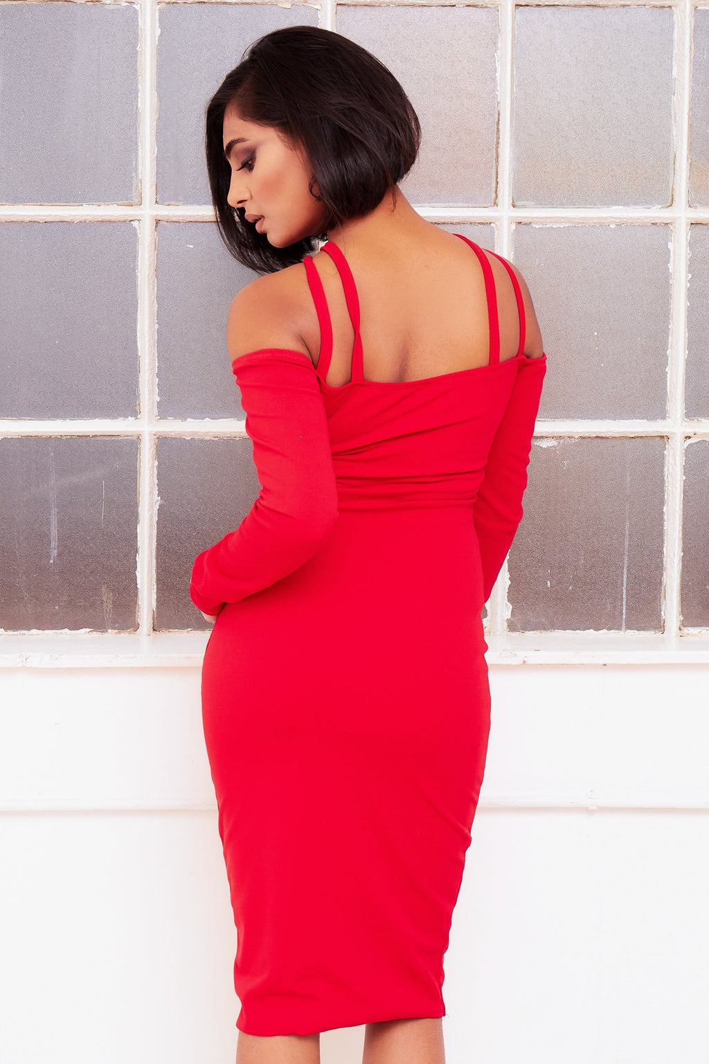 MILLIE RED off shoulder spaghetti strap midi dress